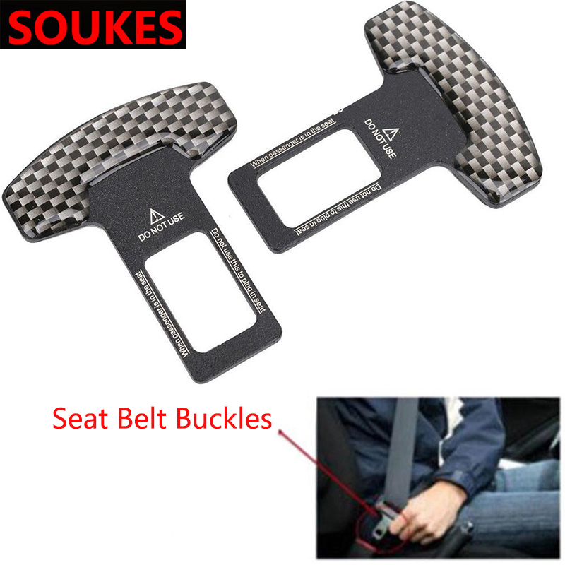 1pcs Carbon Fiber Car Safety Seat Belt Buckle Clip For Cadillac CTS SRX ATS <font><b>Lexus</b></font> RX NX GS CT200H GS300 <font><b>RX350</b></font> RX300 Saab 9-3 9-5 image
