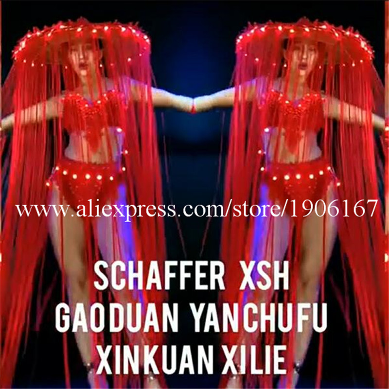 Nightclub GOGO female models Chinese style LED lights tassels red big hats Mid-Autumn National Day theme costumes2