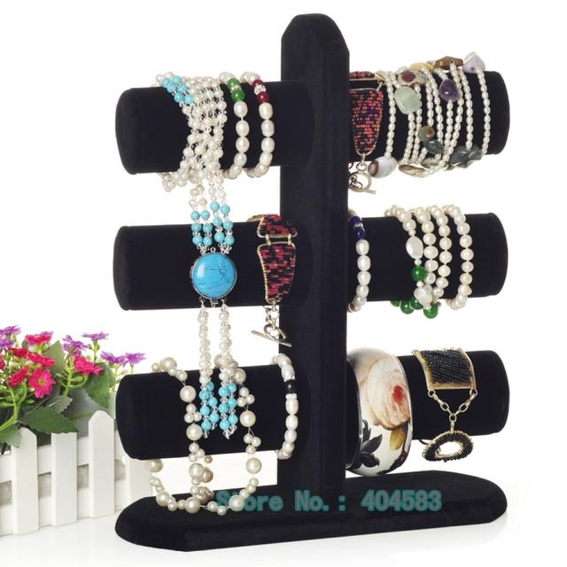 3-Layer Multi-color velvet bracelet/bangle/watch display stand holder rack tabletop showstand bangle holder