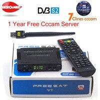 Спутниковые антенны декодер freesat V7 HD DVB-S2 + USB инъекций с 7 линий Европа cccam счет Полная поддержка powervu cccam