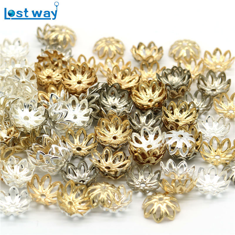 все цены на 150pcs/lot Silver Gold Plated Flower petal End Spacer Beads Caps Charms Zinc Alloy Bead Cups For Jewelry Making 12mm hole 2mm онлайн