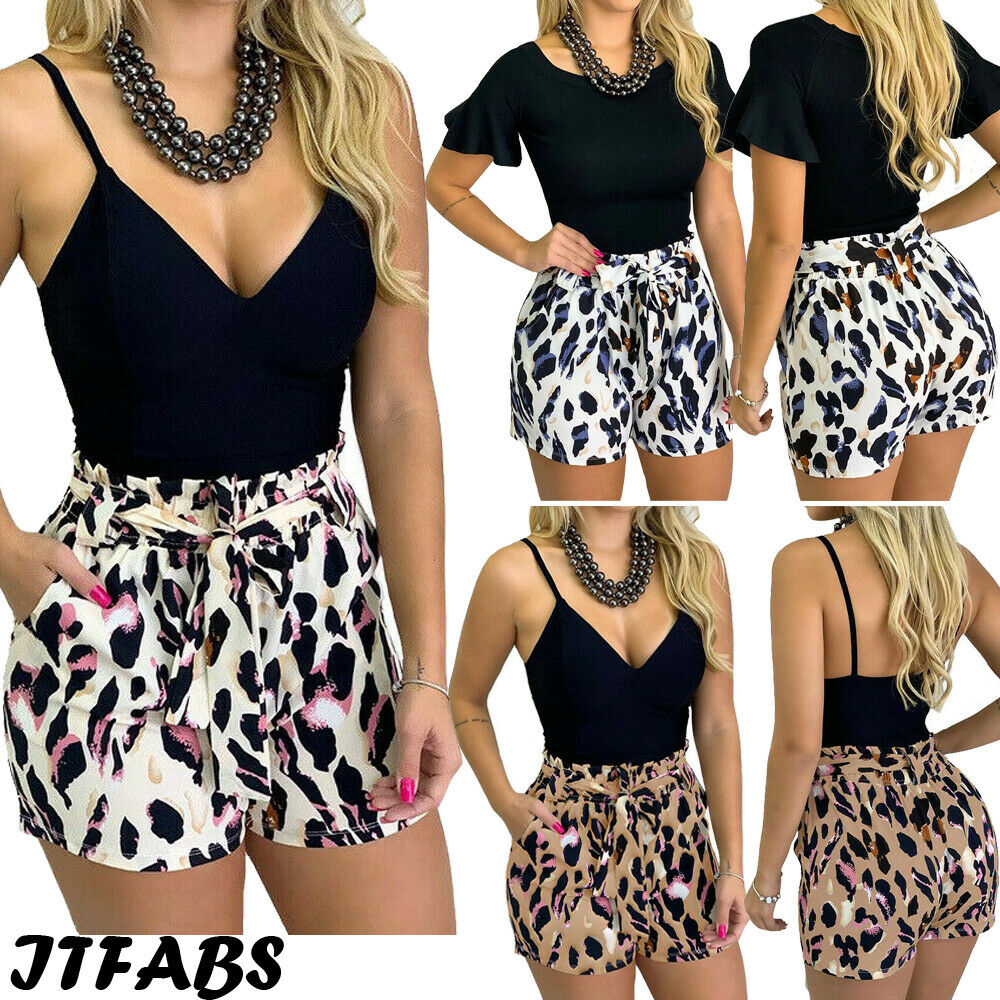 New Women Ladies Fashion Casual Summer Chic Shorts Leopard Print High Waist Bandage Shorts Trouser