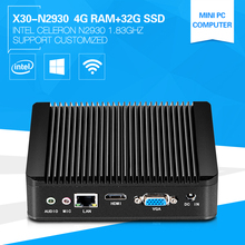 XCY High Performance Windows7 Mini PC Celeron CPU N2930 Quad-Core 1.86GHz 4G Memory 32G SSD OEM/ODM Nettop Computer