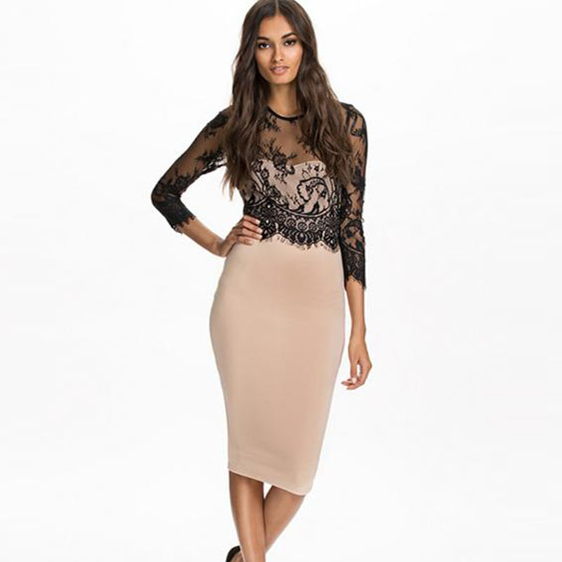 Elegant Office Lady Sexy Midi Dress For Women Summer Beige Lace Patchwork O Neck 3/4 Sleeve Pencil Work Business Party Dresses