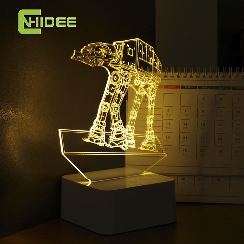 Dimmable Star Wars Nightlight Children Sleep 3D Night Light at-at Imperial Walker LED Desk Lamp as Home Decor USB Table Lampara