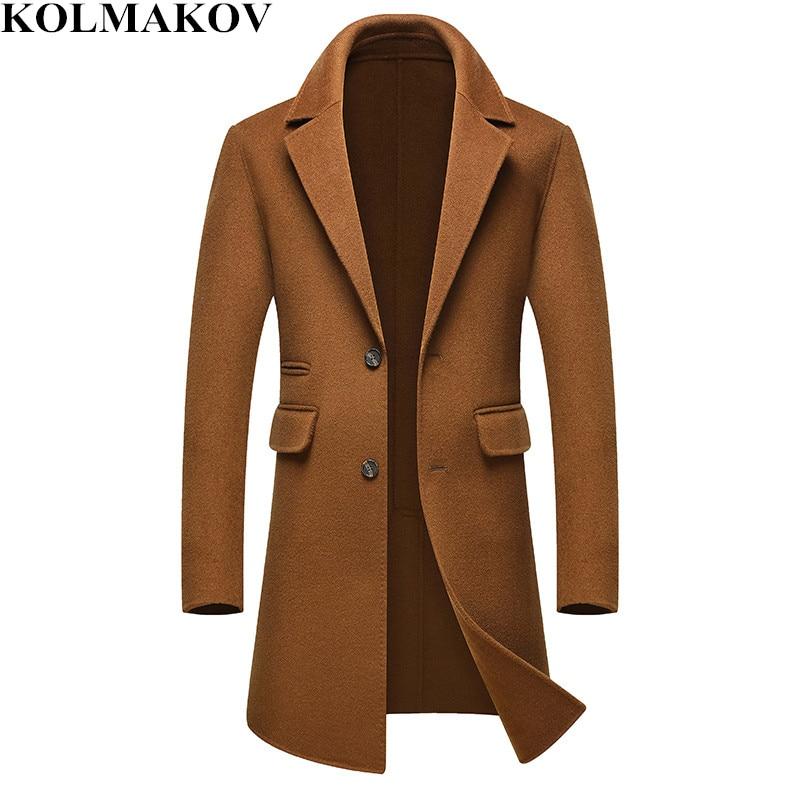 NEW Woolen Coats Men 2018 men's Long Trench Coat High-end Overcoats Male Winter Business Wool Jackets Man skinny Plus Size M-3XL
