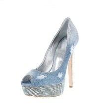 цена Newest Blue Denim Crystal High Heel Pumps Woman High Platform Lace Jeans Shoes Peep Toe Elegant Party Dress shoes Free Ship в интернет-магазинах