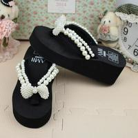 Free Shipping Original Handmade Simple Pearl Bow Thick Soles Leisure Beach Vacation Flip Flops