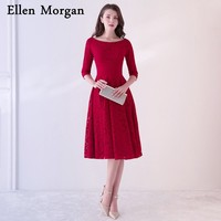Burgundy Mother of the Bride Groom Lace Dresses for Wedding Party Gowns with Sleeves Knee Length Real Photos 2018 Godmother
