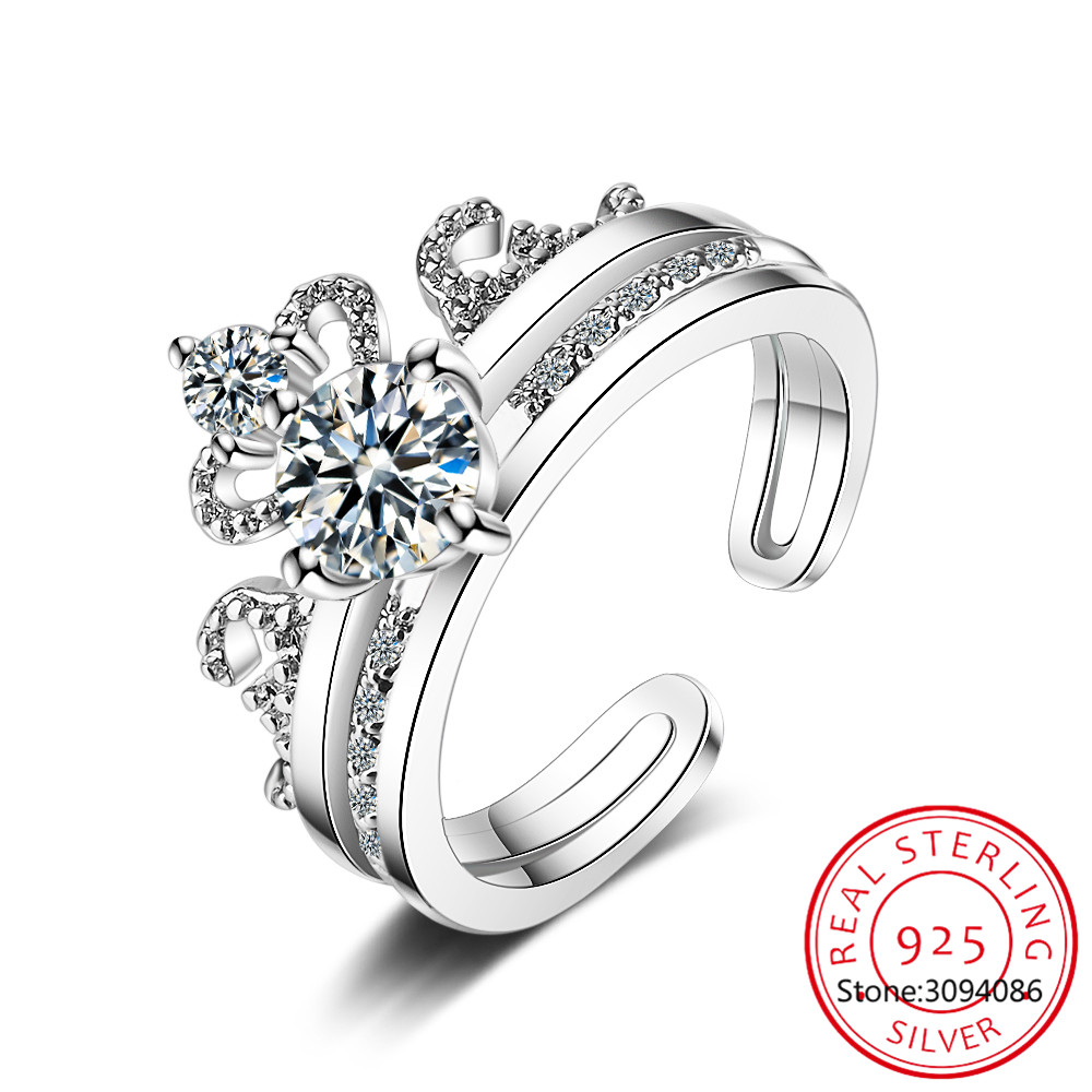 100% 925 Solid Real Sterling Silver High Quality Crown CZ Opening Ring 5 6 7 For Women Girl Wife Birthday Present