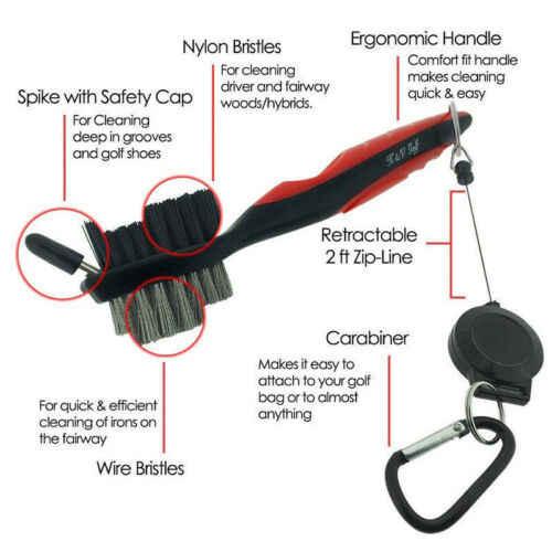 Nuova Golf Club Brush Cleaner Tool di Pulizia Filo di Ottone Sfere A Gola Scarpa Pacchetto Set
