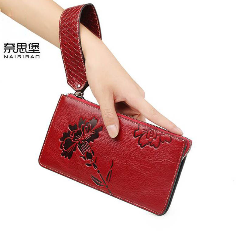 цена на NAISIBAO New women genuine leather bag designer brands zipper wallets fashion embossing long women wallets leather clutch bags
