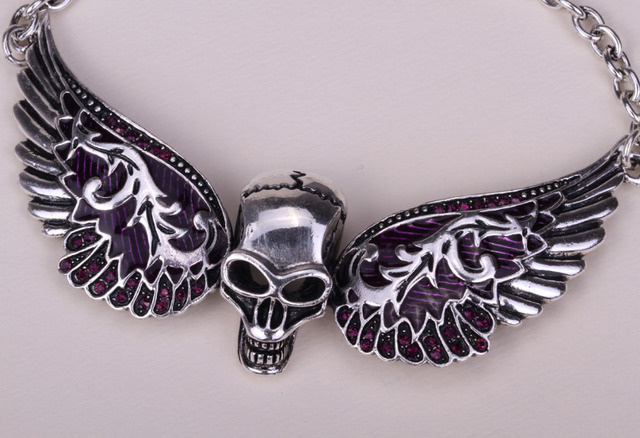 Wings skull necklace biker jewelry with crystal
