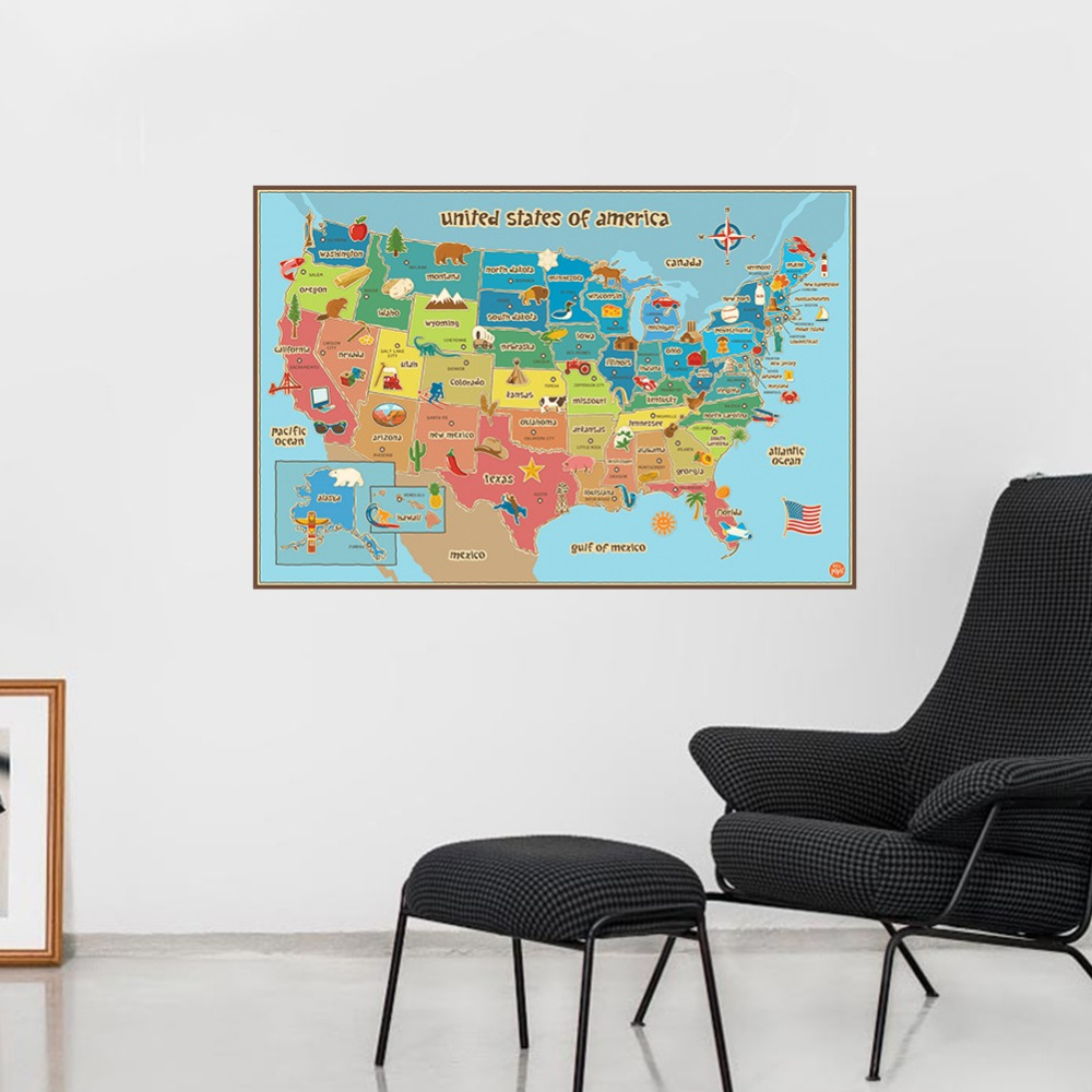 Colorful english united states of american plate map paper for Living room paper