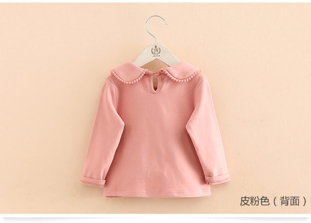 2018 Spring Autumn 2-10 Years Old Baby Children'S Clothing Long Sleeve Solid Pure Color Cute Cartoon Kids Girls Basic T Shirts (8)