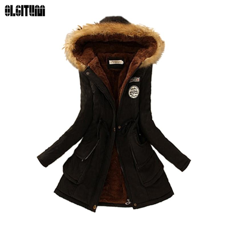 Invierno mujeres abrigo 2018 mujeres Parka Casual Outwear militar con capucha abrigo de piel chaquetas de invierno abrigo para mujer CC001