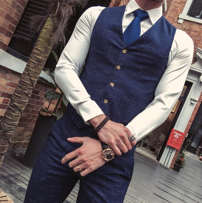 Bonne Pantalon Plaid Mariage Qualité Blue Robe Et Portent Gilet De vestes Navy Mode Hommes Costumes Formelle Des Blazer Bleu Mâle pCwPfqd6