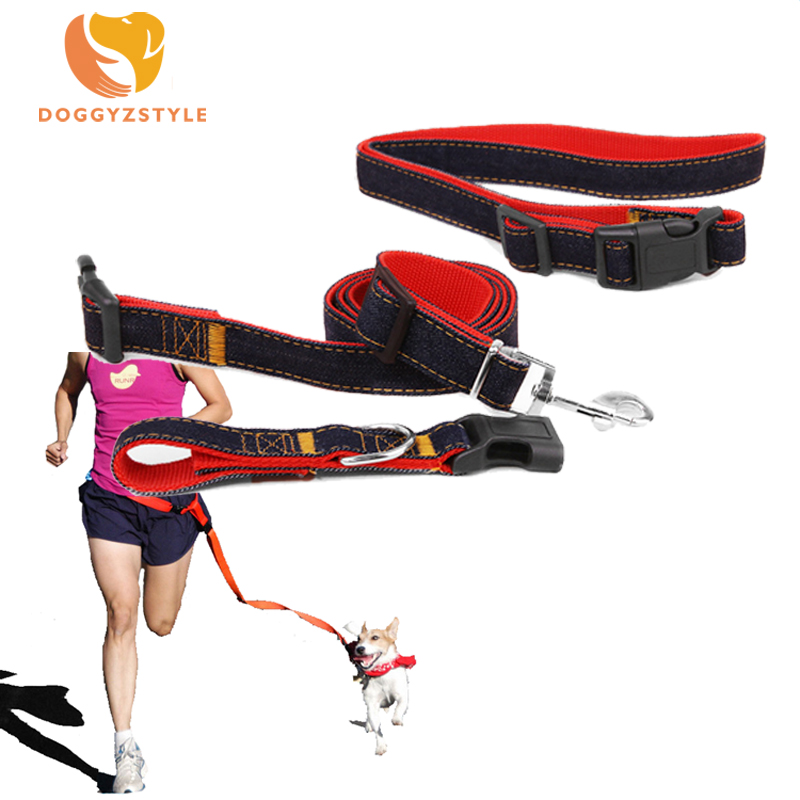 Dogs Leash Running Elasticity Hand Freely Dogs Sports Harness Collar Jogging Lead and Adjustable Waist Rope Pet Products 3Colors