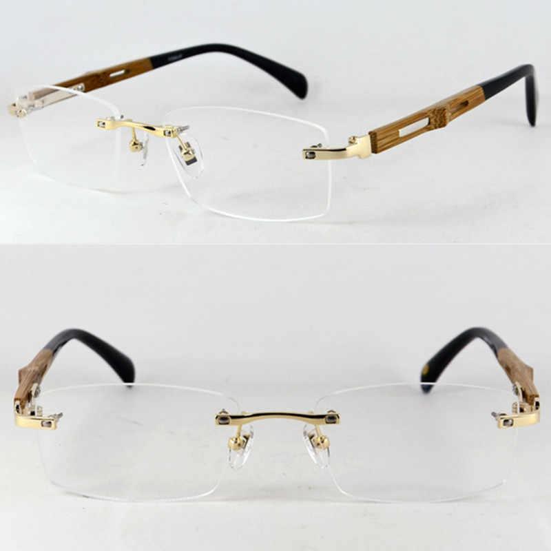 c628913c18e7 Pure Titanium Wooden Hand Made Rimless Eyeglass Frames Luxury Myopia Rx  able Men Women Glasses Spectacles