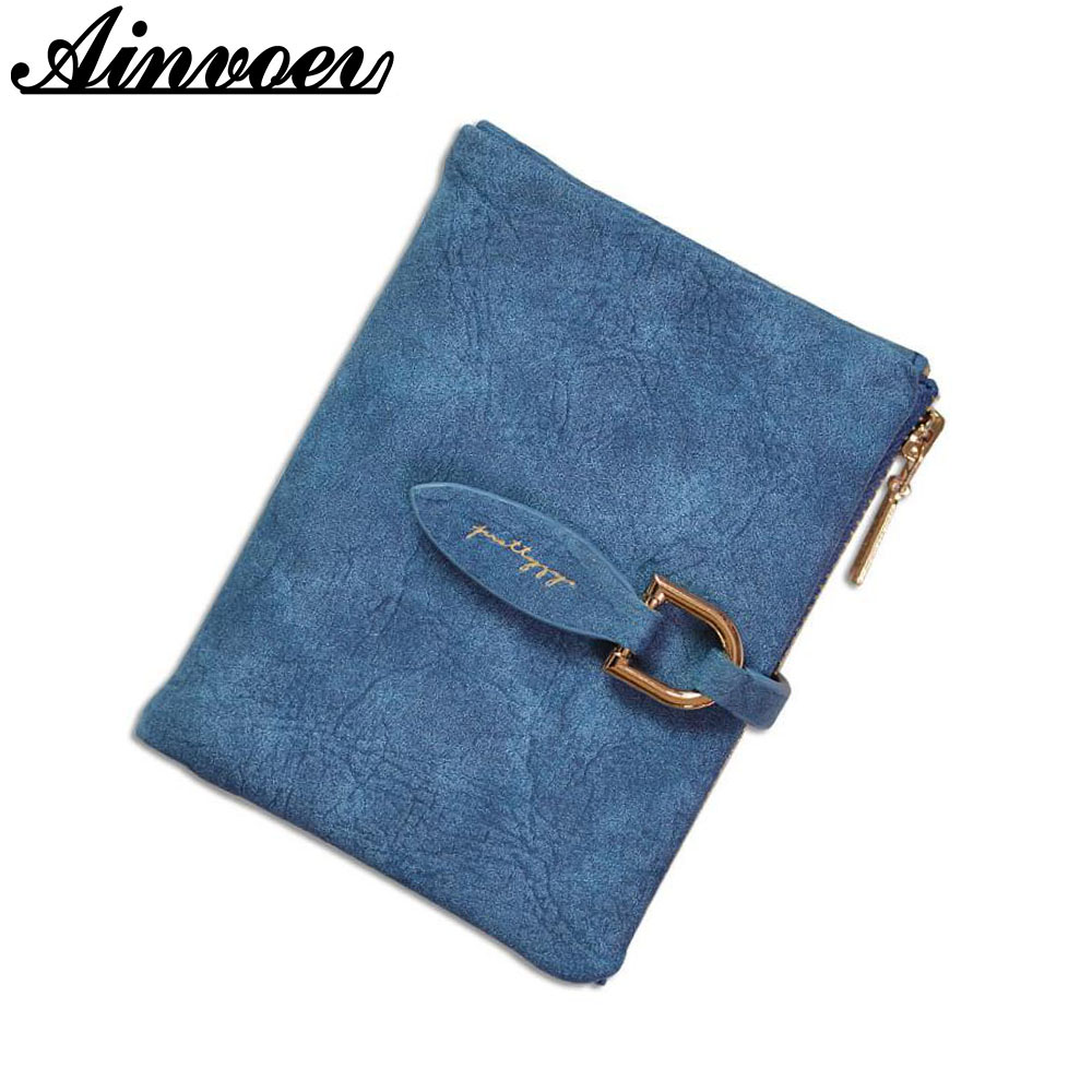 Ainvoev Lady Snap Short Wallet Clutch Vintage Matte Fastener Women Wallet Fashion Small Female Purse short Coin Card Holder bags fashion women coin purse lady vintage flower small wallet girl ladies handbag mini clutch women s purse female pouch money bag
