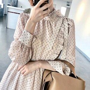 Babados Vestido Longo Moda Feminina Gola Laço do vintage Dot Impresso Vestido de Chiffon Princesa Vestidos Robe Vestido de Tamanho Pequeno