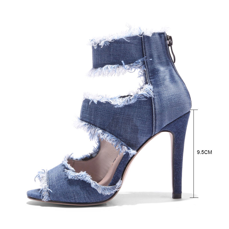 Cheville Denim Chaussures Hauts Bout Ouvert Mode Gladiateur 43 Femme À Talons Daitifen Sangle Blue Taille Grande D'été Sandales 1xg5wqw