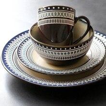 4-Piece Western Ceramic Tableware Set Coffee Mug Cup Salad Bowl Ramen  Bowl Soup Bowl Dinner Set Porcelain 1 piece ceramic marbling pattern multi use salad bowl