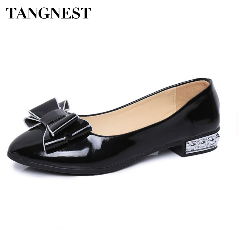 Tangnset 2018 Spring Women New Flats Women Pointed Toe Bowtie Flat Heel Shoes 4 Colors Comfortable Party Shoes Woman spring summer women leather flat shoes 2017 sweet bowtie flats women shoes pointed toe slip on ladies shoes low heel shoes pink
