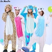 Adult Kigurumi Costumes Cosplay Onesie Anime Women Cartoon Animal Sleepwear Leopard Bear Sullivan Unicorn Winter Warm