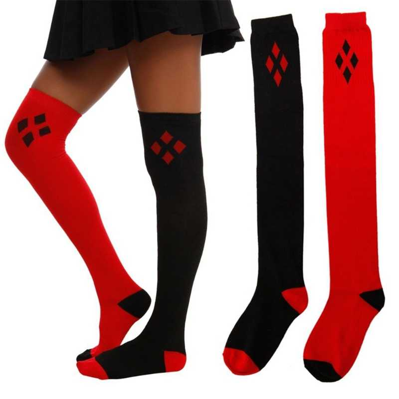 แฟชั่นผู้หญิงใหม่ฤดูหนาวรองเท้า Cuff สีดำสีแดงเพชรพิมพ์ยาวกว่าเข่าถุงน่องฝ้ายบล็อกสี