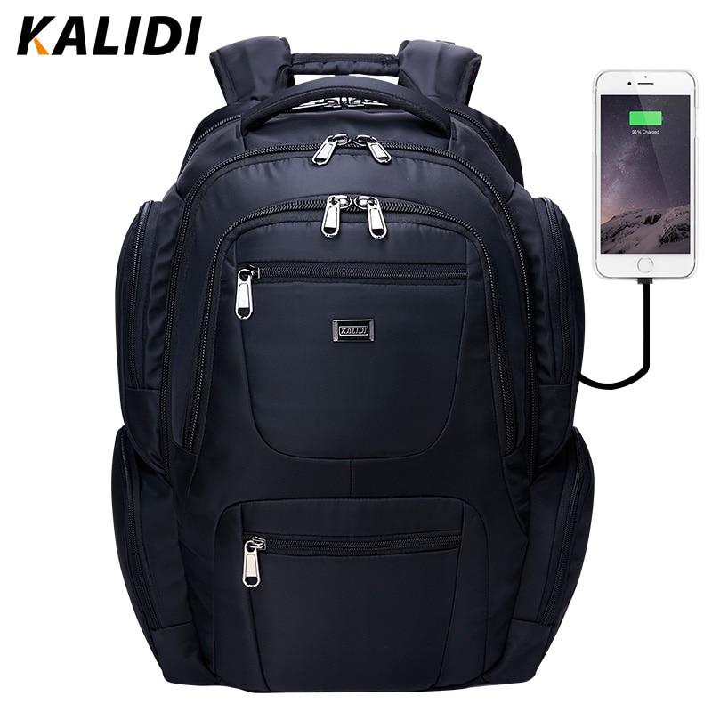KALIDI წყალგაუმტარი ლეპტოპის ჩანთა ზურგჩანთა მამაკაცებისთვის USB დატენვის და ყურსასმენის ინტერფეისის ლეპტოპის ჩანთა Macbook 17 ინჩიანი ზურგჩანთისათვის