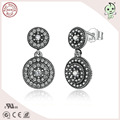Hot Sale  High Quality European Popular And Classic  925 Real Silver Full Stones Paving Earring