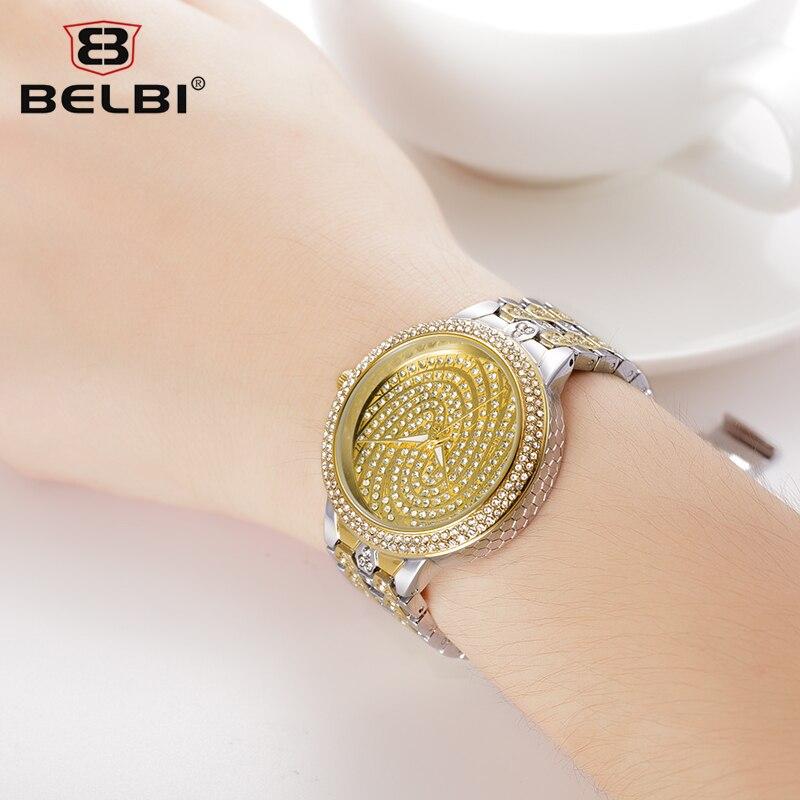 ФОТО BELBI New Fashion Watch Women Luxury Stainless Steel Band Rhinestone Casual Quartz Wristwatch Ladies Individuality Dress Watch