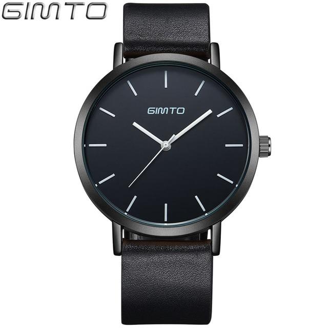 The GIMTO марка Часы кожа Полный Черный Часы мужчины Кварцевые часы женщины кожа Наручные Часы Кварцевые Часы Relogio Masculino