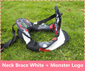 White + Monster Logo Motorcycle Neck Brace suspenders light weight full strong protector Motocross motorbike riding neck guard
