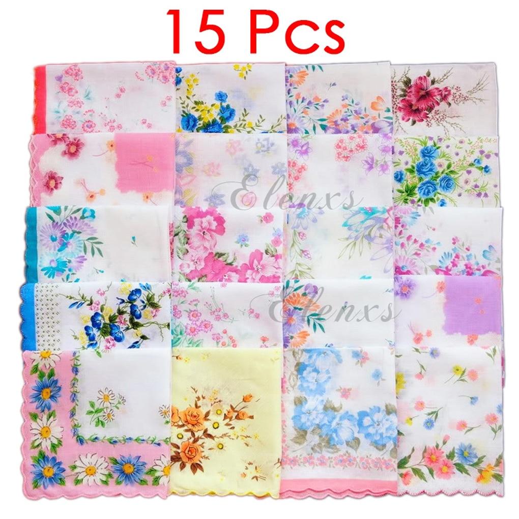 15 Pcs Cotton Gauze Muslin Square Lovely Flower Pattern Handkerchief Towel