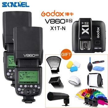 DHL 2x Godox V860II-N GN60 i-TTL HSS 1/8000 s Flash Speedlite w/Li-ion Battery + transmissor para Nikon D850 X1T-N D810 D500 D5s D4