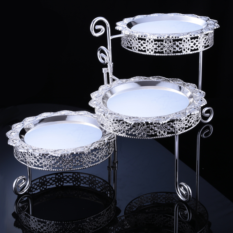 Europe silver plated kitchen Cake pan dessert table wedding decoration 3 layer dessert fruit tray Cosmetic
