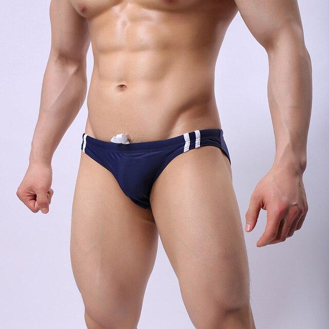 Traje de baño Sexy para hombre, traje de baño de cintura baja, traje de baño estampado con letras de rayas, traje de baño de secado rápido, 1
