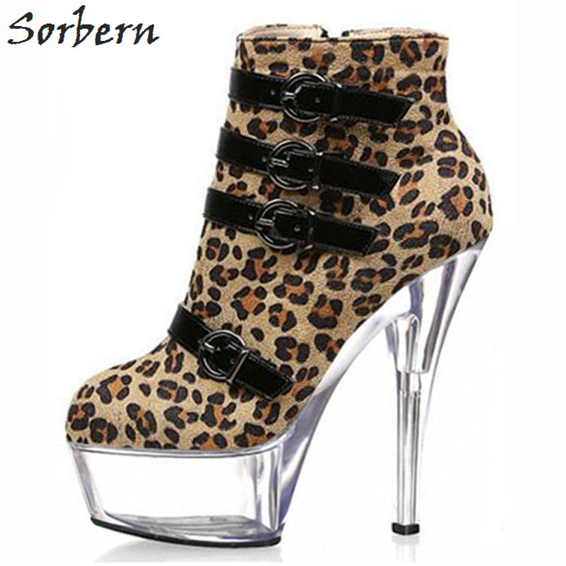 Sorbern Leopard Ankle Women Boots Fashion Ladies Party Boots Buckle Strap Boots Women Unisex Dance Boots High HeelsSorbern Leopard Ankle Women Boots Fashion Ladies Party Boots Buckle Strap Boots Women Unisex Dance Boots High Heels
