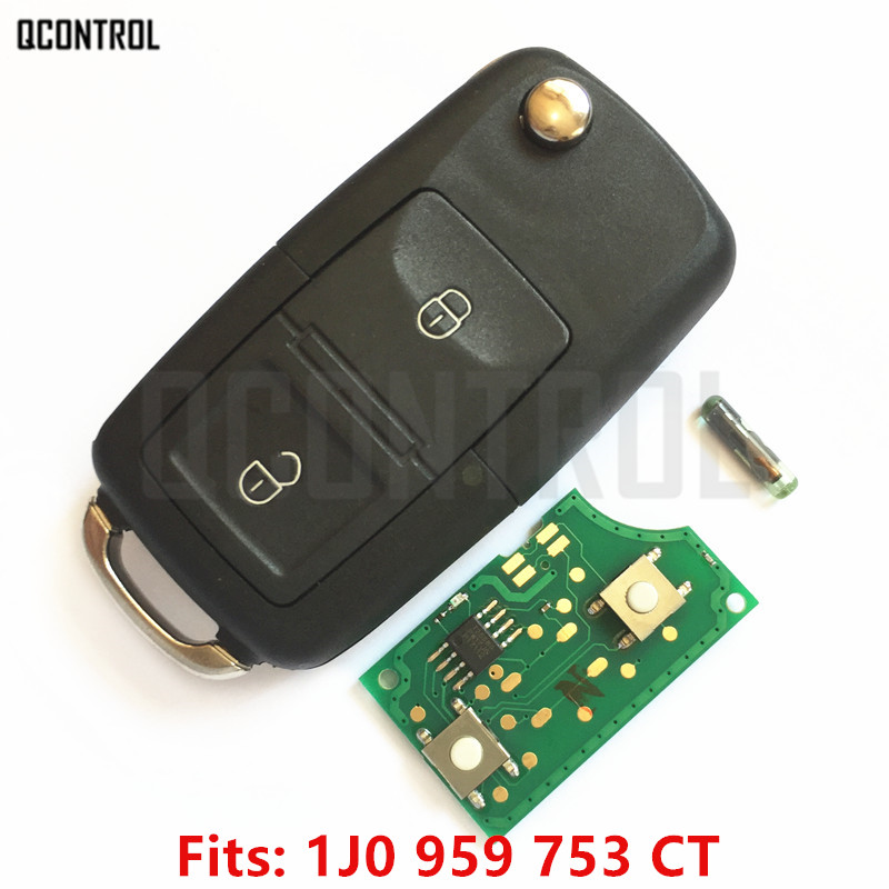 QCONTROL Car Remote Key DIY for VW/VOLKSWAGEN Bora Polo Golf MK4 Transporter 1J0959753CT/5FA009259-00 HLO 1J0 959 753 CT