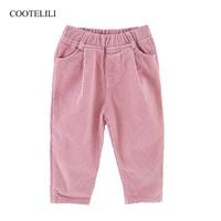 COOTELILI Khaki Pink Baby Boys Girls Trousers Leggings For Kids 2018 Autumn Winter Harem Corduroy Pants Boy Pants Kids 90 130cm