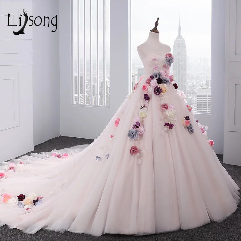 2018 Blush Pink 3D Flower   Prom     Dresses   Long 2018 With Sheer Jacket Vintage Tulle   Prom   Gowns Plus Size Abiye Abendkleider