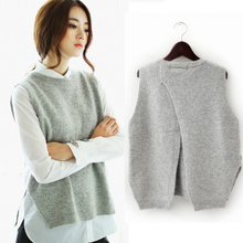 Women Spring Autumn Cashmere Knitted Sleeveless Sweater Vest Female Casual Loose Black Pink Grey Blue Red Waistcoat Vest Tops
