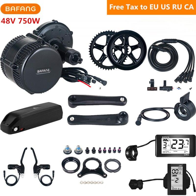 48 V 750 W Bafang 8fun BBS02B Kit de Conversion de vélo électrique moteur d'entraînement moyen avec batterie 48 V 17AH Lithium Ebike C961 C965 affichage