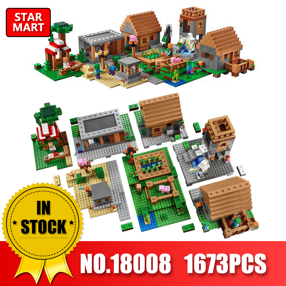 LEPIN 18008 1673pcs Minecrafted My World Series Village 3D Model Building Blocks Bricks Model LegoINEs 21128 Toys for Kids lepin 18010 my world 1106pcs compatible building block my village bricks diy enlighten brinquedos birthday gift toys kids 21128