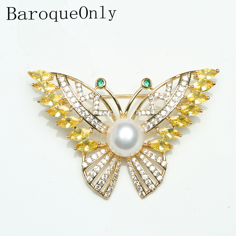 Baroqueonly freshwater natural white pearl  Gold Hardware green stone butterfly brooch for woman vintage style  jewelry BREBaroqueonly freshwater natural white pearl  Gold Hardware green stone butterfly brooch for woman vintage style  jewelry BRE