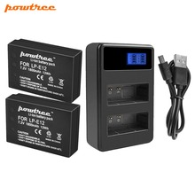 цена Powtree For Canon 2PCS 1800mAh 7.2V LP-E12 LP E12 LPE12 Camera Battery Batteries AKKU+LCD USB Dual Charger For EOS 100D M100 M10 онлайн в 2017 году