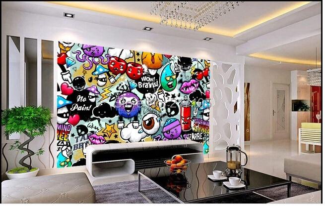 aliexpress : benutzerdefinierte baby wallpaper bunten graffiti, Hause deko
