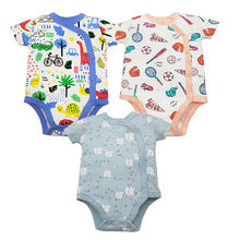 3pcs/lot Baby rompers 100% Cotton Infant Newborn Baby Clothes Short Sleeve baby Jumpsuit Cartoon Printed Baby Boy Girl clothes(China)